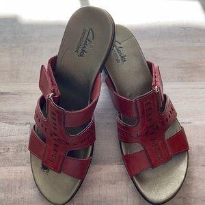 Clark's red heeled sandals